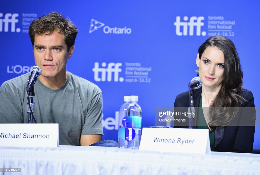 Actors Michael Shannon and actress Winona Ryder speak onstage at the 'Iceman' Press Conference during the 2012 Toronto International Film Festival at...
