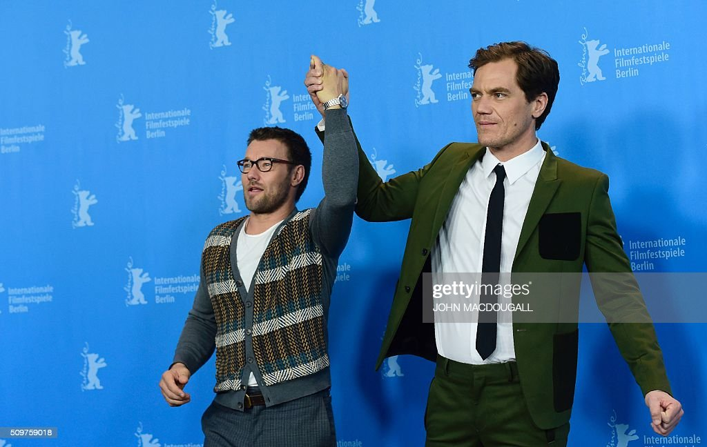 US actors Michael Shannon (R) and Australian actor Joel Edgerton pose during a photocall for the film 'Midnight Special' presented at the Berlinale Film Festival in Berlin on February 12, 2016. Eighteen pictures will vie for the Golden Bear top prize at the event which runs from February 11 to 21, 2016. / AFP / John MACDOUGALL