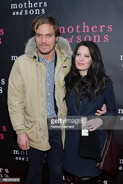 Actors Michael Shannon and Kate Arrington attend the Broadway opening night of 'Mothers and Sons' at The Golden Theatre on March 24 2014 in New York...