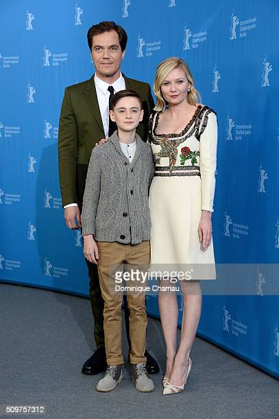 Actors Michael Shannon Jaeden Lieberher and actress Kirsten Dunst attend the 'Midnight Special' photo call during the 66th Berlinale International...