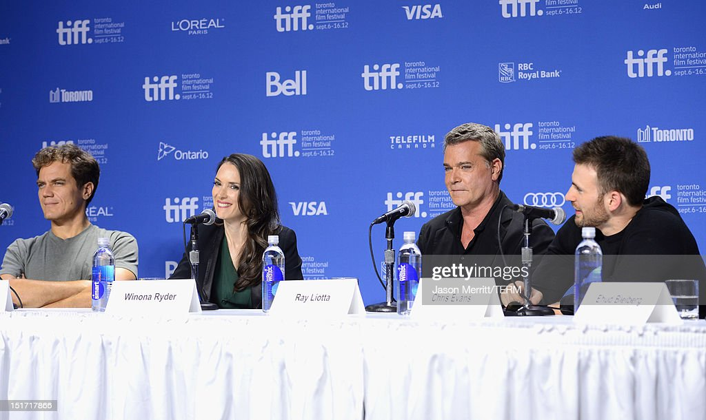 Actors Michael Shannon Winona Ryder Ray Liotta and Chris Evans speak onstage at the 'Iceman' Press Conference during the 2012 Toronto International...