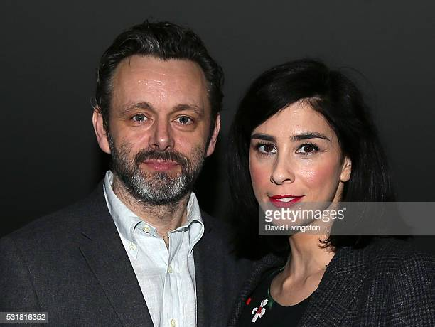 Actors Michael Sheen and Sarah Silverman attend a screening and panel for Showtime's 'Masters of Sex' at the Landmark Theater on May 16 2016 in Los...