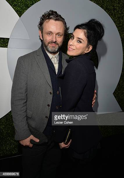 Actors Michael Sheen and Sarah Silverman attend the 2014 GQ Men Of The Year party at Chateau Marmont on December 4 2014 in Los Angeles California