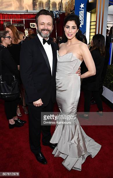 Actors Michael Sheen and Sarah Silverman attend The 22nd Annual Screen Actors Guild Awards at The Shrine Auditorium on January 30 2016 in Los Angeles...