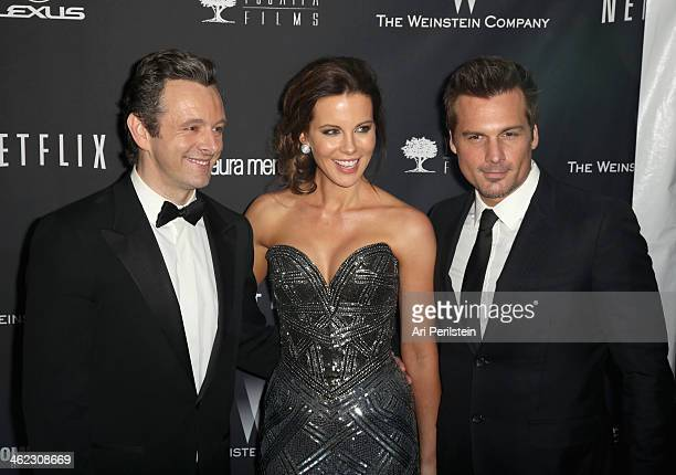 Actors Michael Sheen Kate Beckinsale and director Len Wiseman attend The Weinstein Company Netflix's 2014 Golden Globes After Party presented by...