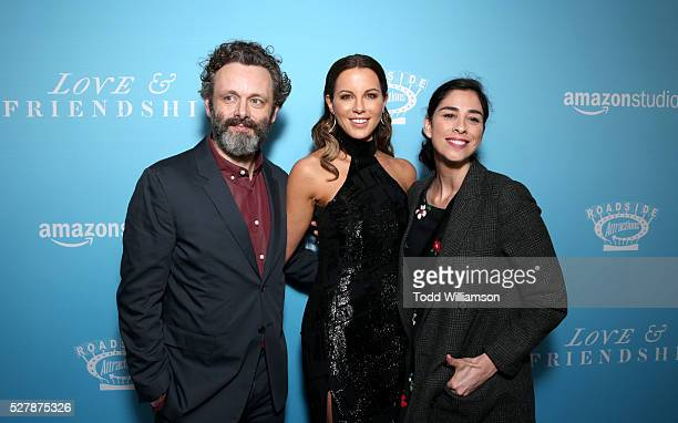 Actors Michael Sheen Kate Beckinsale and Sarah Silverman attend the premiere of 'Love Friendship' at the Directors Guild of America on May 03 2016 in...