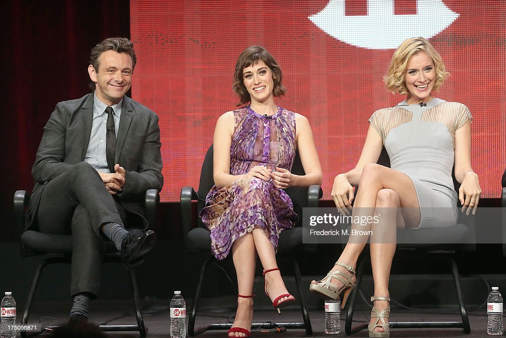 Actors <a gi-track='captionPersonalityLinkClicked' href=/galleries/search?phrase=Michael+Sheen&family=editorial&specificpeople=213120 ng-click='$event.stopPropagation()'>Michael Sheen</a>, <a gi-track='captionPersonalityLinkClicked' href=/galleries/search?phrase=Lizzy+Caplan&family=editorial&specificpeople=599560 ng-click='$event.stopPropagation()'>Lizzy Caplan</a> and Caitlin Fitzgerald speak onstage during the 'Masters of Sex' panel discussion at the CBS, Showtime and The CW portion of the 2013 Summer Television Critics Association tour at the Beverly Hilton Hotel on July 30, 2013 in Beverly Hills, California.