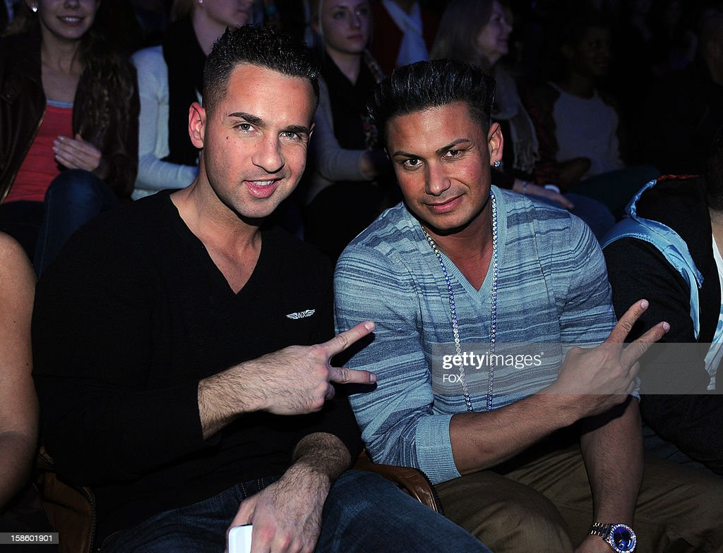 Actors Michael Sorrentino and Paul DelVecchio in the audience at FOX's 'The X Factor' Season 2 Top 3 Live Performance Show on December 19, 2012 in Hollywood, California.