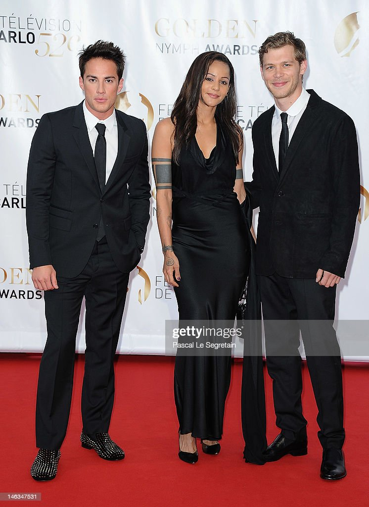 Actors <a gi-track='captionPersonalityLinkClicked' href=/galleries/search?phrase=Michael+Trevino&family=editorial&specificpeople=4069456 ng-click='$event.stopPropagation()'>Michael Trevino</a> (L) and Joseph Morgan (R) arrive at the Closing Ceremony of the 52nd Monte Carlo TV Festival on June 14, 2012 in Monte-Carlo, Monaco.