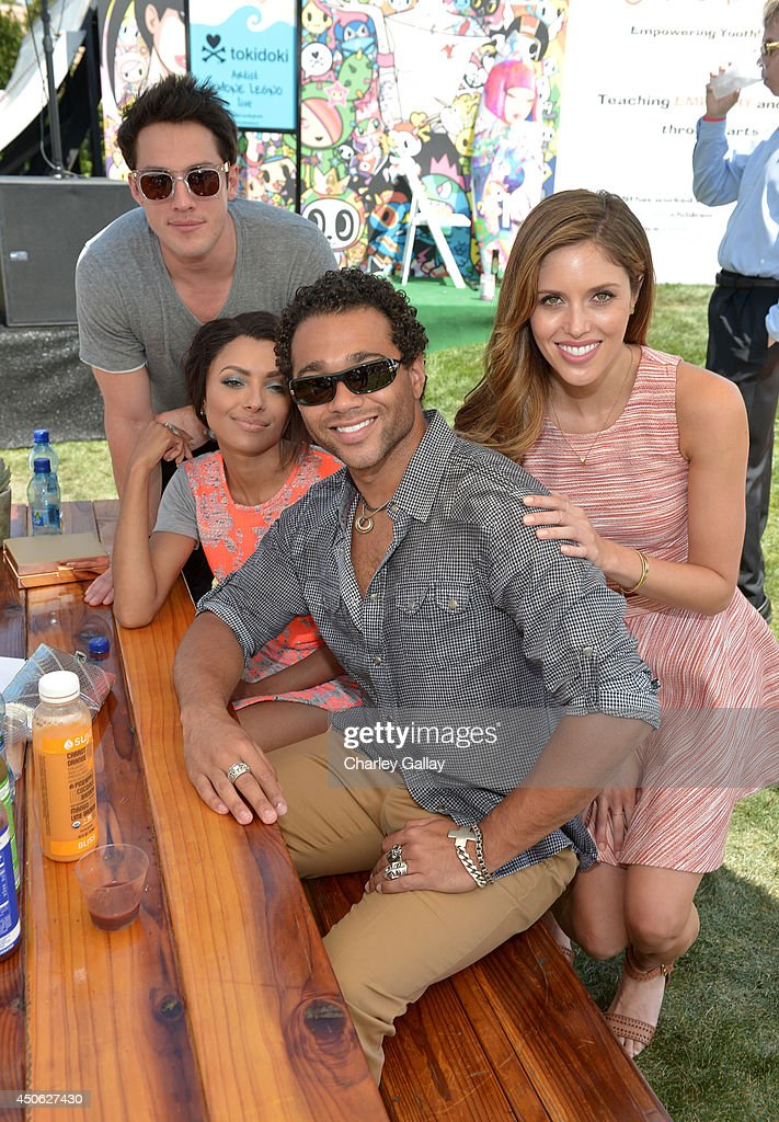 Actors Michael Treviso, Kat Graham, Cobin Bleu, and <a gi-track='captionPersonalityLinkClicked' href=/galleries/search?phrase=Kayla+Ewell&family=editorial&specificpeople=225010 ng-click='$event.stopPropagation()'>Kayla Ewell</a> attend the Children Mending Hearts 6th Annual Fundraiser 'Empathy Rocks: A Spring Into Summer Bash' at a private residence on June 14, 2014 in Beverly Hills, California.