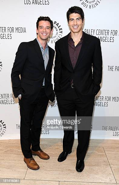Actors Michael Urie and Brandon Routh arrive at the 2012 PaleyFest Fall TV Preview CBS Preview Screening Of 'Partners' at The Paley Center for Media...