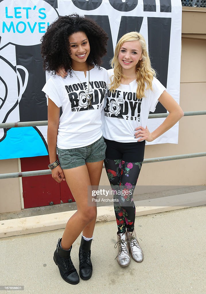 Actors Michaela Blanks (L) and Peyton List (R) attend The WAT-AAH! Foundation's 3rd annual Move Your Body 2013 event on May 1, 2013 in Los Angeles, California.