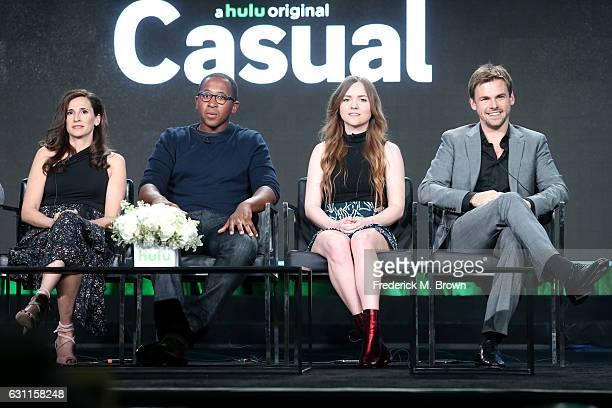 Actors Michaela Watkins Nyasha Hatendi Tara Lynne Barr and Tommy Dewey from Hulu's Original Series 'Casual' speak onstage during Hulu's 2017 Winter...
