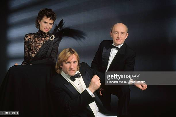 Actors Michel Blanc MiouMiou and Gerard Depardieu promote the movie Tenue de Soirée directed by Bertrand Blier