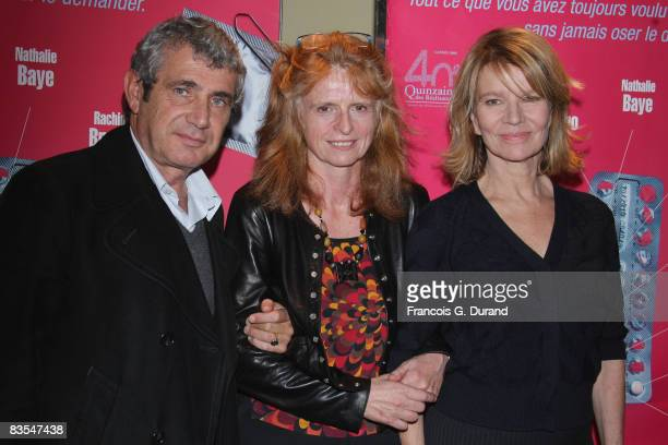 Actors Michel Boujenah and Nicole Garcia pose with director Claire Simon during the 'Les Bureaux de Dieu' Paris Premiere at the UGC les Halles on...