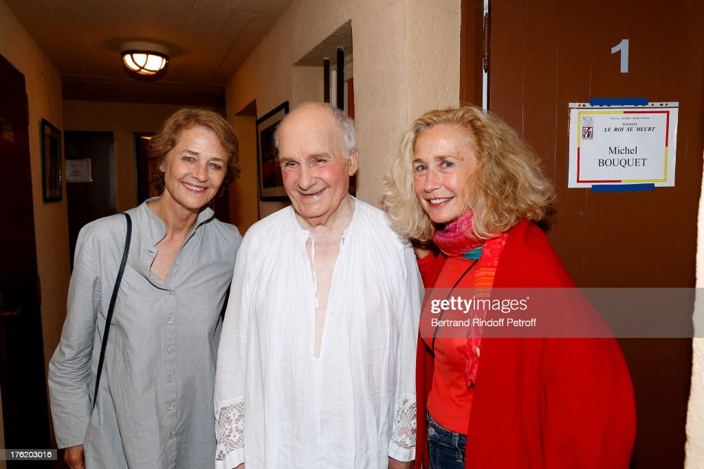 Actors Michel Bouquet (C), Brigitte Fossey (R) and Charlotte Rampling (L) after 'Le Roi se meurt' on the last day of the 29th Ramatuelle Festival on August 11, 2013 in Ramatuelle, France.