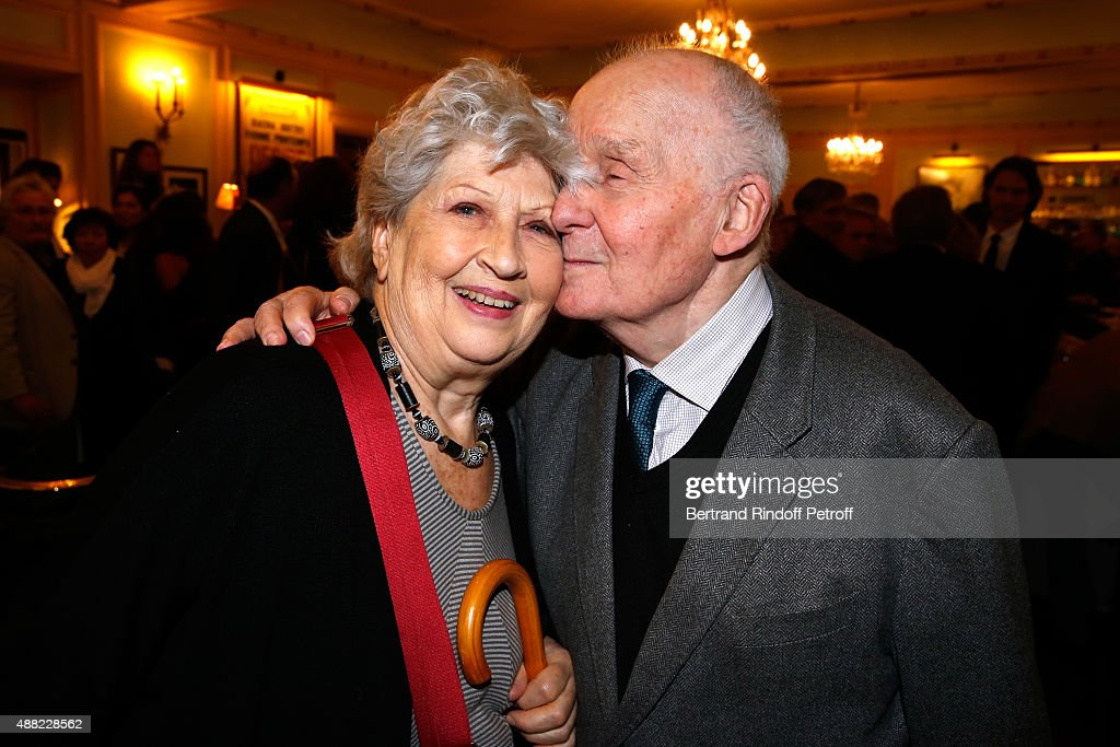 Actors Michel Bouquet with his wife Juliette Carre attend 'Le Mensonge' Theater Play Held at Theatre Edouard VII on September 14 2015 in Paris France