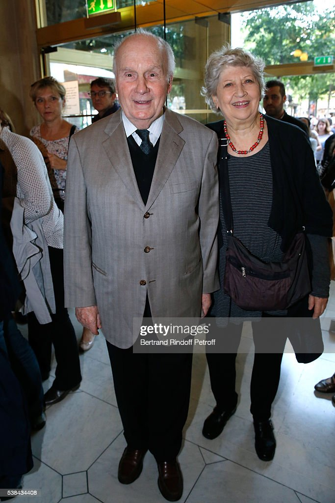 Actors Michel Bouquet with his wife Juliette Carre attend the Concert of Patrick Bruel at Theatre Du Chatelet on June 6 2016 in Paris France