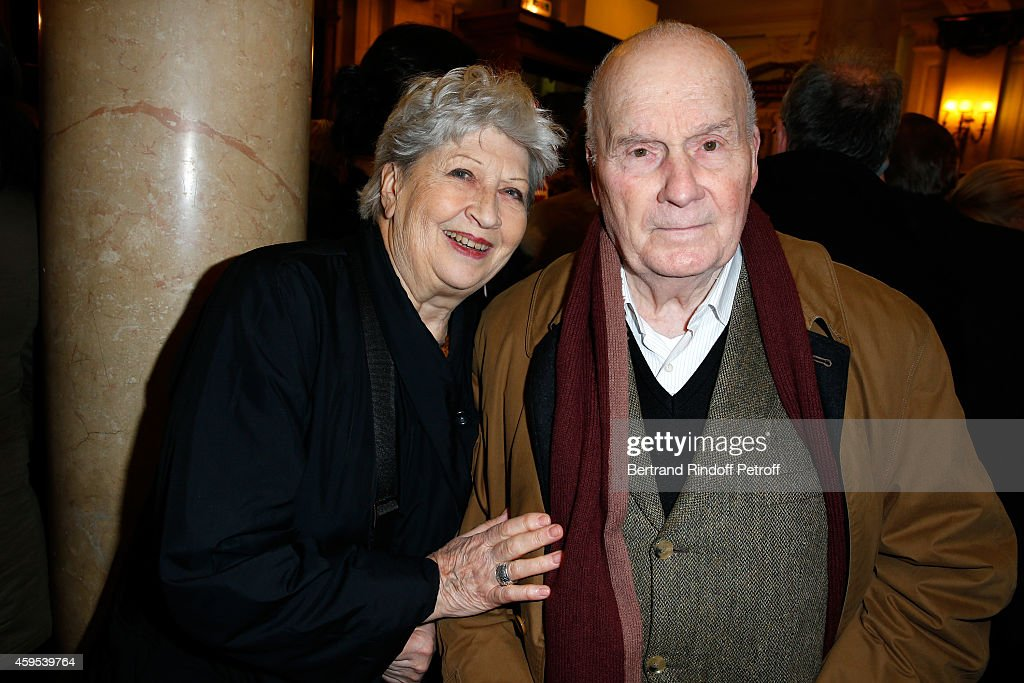 Actors Michel Bouquet with his wife Juliette Carre attend the 'Ma Vie Revee' Michel Boujenah One Man Show at Theatre Edouard VII on November 24 2014...