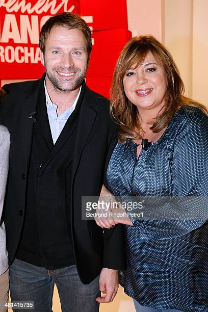 Actors Michele Bernier and Thomas Jouannet attend 'Vivement Dimanche' French TV Show for the movie 'Paradis amers' Held at Pavillon Gabriel on...