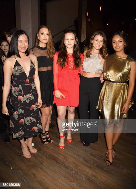 Actors Michele Selene Ang Hannah Payne Katherine Langford Sosie Bacon and Alisha Boe attend the 2017 MTV Movie And TV Awards at The Shrine Auditorium...