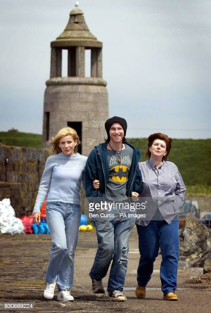 Actors Michelle Collins Paul Kaye and Elaine C Smith who play the characters Abby Wallace Kenny Marsh and Mrs Marjorie McGowan respectively in the...