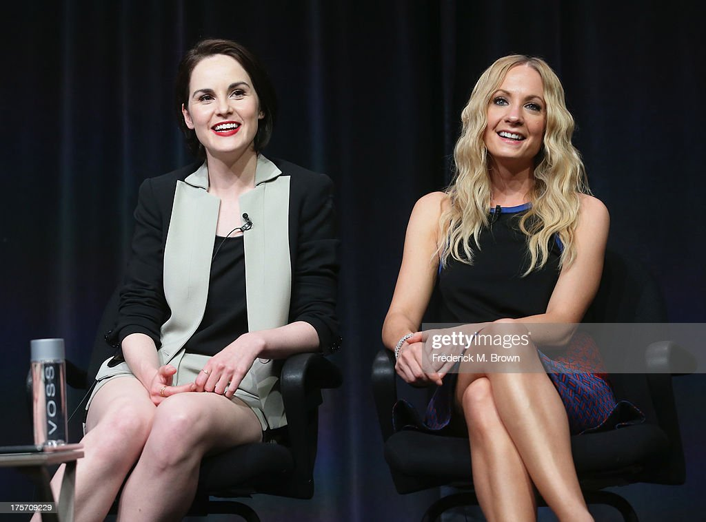 Actors <a gi-track='captionPersonalityLinkClicked' href=/galleries/search?phrase=Michelle+Dockery&family=editorial&specificpeople=4047702 ng-click='$event.stopPropagation()'>Michelle Dockery</a> and <a gi-track='captionPersonalityLinkClicked' href=/galleries/search?phrase=Joanne+Froggatt&family=editorial&specificpeople=2364245 ng-click='$event.stopPropagation()'>Joanne Froggatt</a> speak onstage during the 'Downton Abbey' panel at the PBS portion of the 2013 Summer Television Critics Association tour at the Beverly Hilton Hotel on August 6, 2013 in Beverly Hills, California.