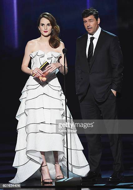 Actors Michelle Dockery and Kyle Chandler speak onstage during the 68th Annual Primetime Emmy Awards at Microsoft Theater on September 18 2016 in Los...