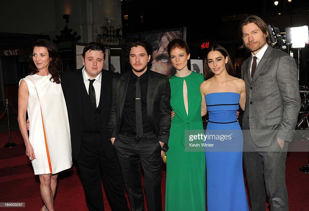 Actors Michelle Fairley, John Bradley, <a gi-track='captionPersonalityLinkClicked' href=/galleries/search?phrase=Kit+Harington&family=editorial&specificpeople=7470548 ng-click='$event.stopPropagation()'>Kit Harington</a>, Rose Leslie, <a gi-track='captionPersonalityLinkClicked' href=/galleries/search?phrase=Emilia+Clarke&family=editorial&specificpeople=7426687 ng-click='$event.stopPropagation()'>Emilia Clarke</a>, and Nikolaj Coster-Waldau arrive at the premiere of HBO's 'Game Of Thrones' Season 3 at TCL Chinese Theatre on March 18, 2013 in Hollywood, California.