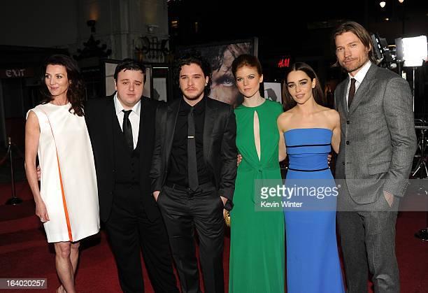 Actors Michelle Fairley John Bradley Kit Harington Rose Leslie Emilia Clarke and Nikolaj CosterWaldau arrive at the premiere of HBO's 'Game Of...
