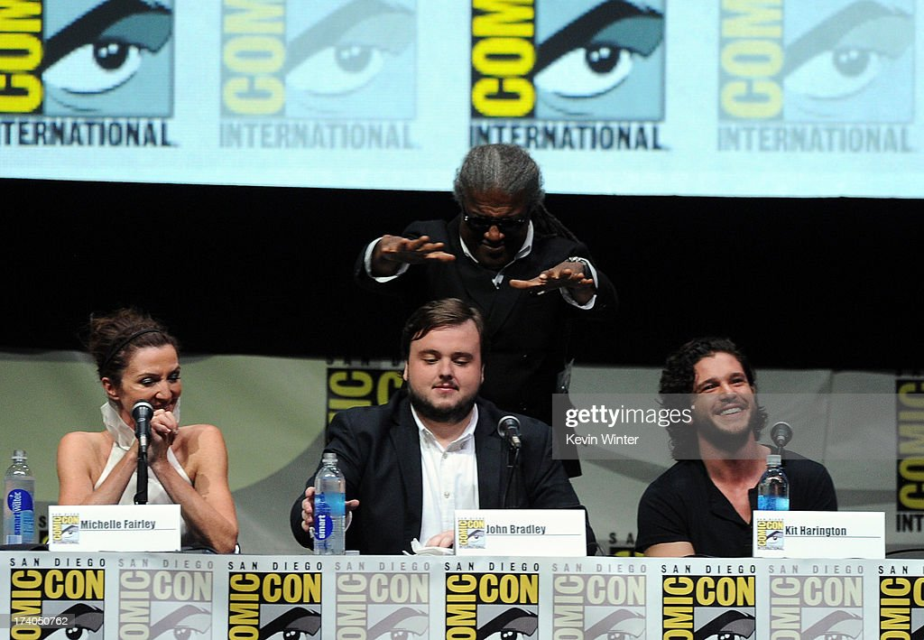Actors Michelle Fairley, John Bradley, moderator Elvis Mitchell, and actpr Kit Harington speak onstage during the 'Game Of Thrones' panel during Comic-Con International 2013 at San Diego Convention Center on July 19, 2013 in San Diego, California.
