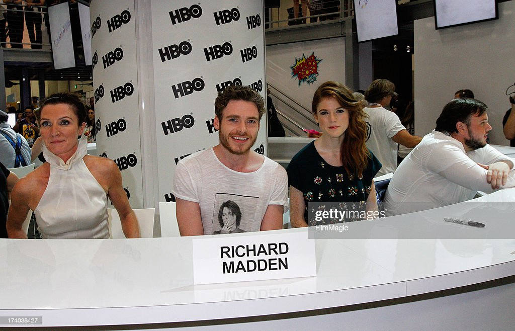 Actors Michelle Fairley, Richard Madden, Rose Leslie and John Bradley attend HBO's 'Game Of Thrones' cast autograph signing at San Diego Convention Center on July 19, 2013 in San Diego, California.
