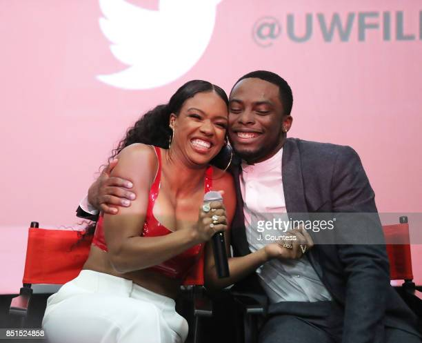 Actors Michelle Mitchenor and Woody McClain onstage during the QnA at the 21st Annual Urbanworld Film Festival at AMC Empire 25 theater on September...