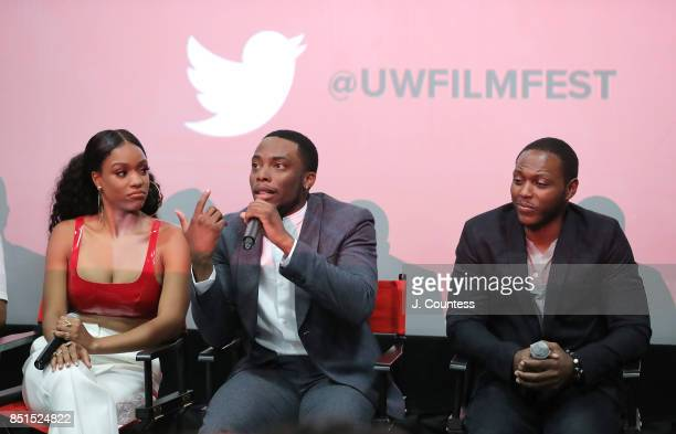 Actors Michelle Mitchenor Woody McClain and Jermel Howard speak during the QnA at the 21st Annual Urbanworld Film Festival at AMC Empire 25 theater...
