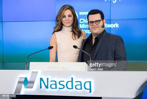 Actors Michelle Monaghan and Josh Gad of Sony Pictures' 'Pixels' visit NASDAQ MarketSite on July 21 2015 in New York City