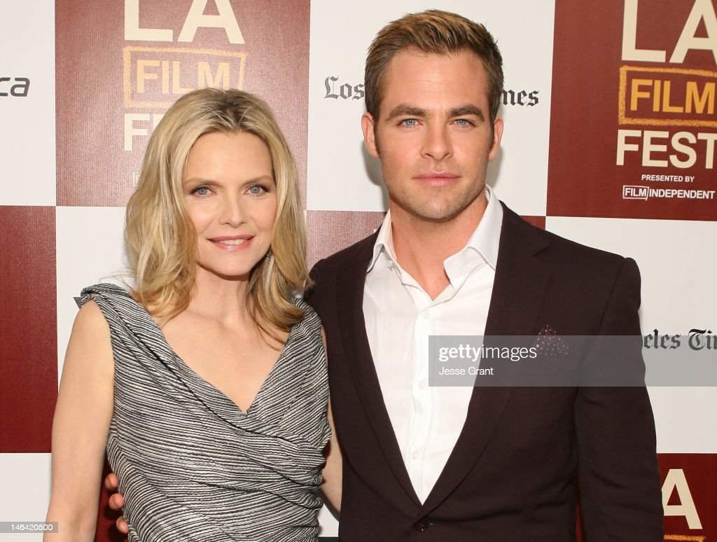Actors <a gi-track='captionPersonalityLinkClicked' href=/galleries/search?phrase=Michelle+Pfeiffer&family=editorial&specificpeople=212951 ng-click='$event.stopPropagation()'>Michelle Pfeiffer</a> and <a gi-track='captionPersonalityLinkClicked' href=/galleries/search?phrase=Chris+Pine&family=editorial&specificpeople=641995 ng-click='$event.stopPropagation()'>Chris Pine</a> attend the 2012 Los Angeles Film Festival Premiere of 'People Like Us' at Regal Cinemas L.A. LIVE Stadium 14 on June 15, 2012 in Los Angeles, California.