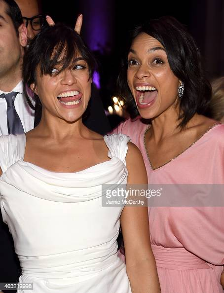 Actors Michelle Rodriguez and Rosario Dawson attend the 2015 amfAR New York Gala at Cipriani Wall Street on February 11 2015 in New York City
