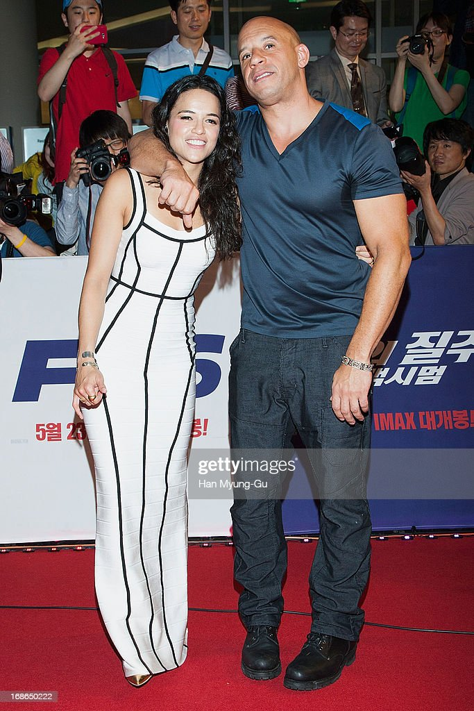 Actors <a gi-track='captionPersonalityLinkClicked' href=/galleries/search?phrase=Michelle+Rodriguez&family=editorial&specificpeople=206182 ng-click='$event.stopPropagation()'>Michelle Rodriguez</a> and <a gi-track='captionPersonalityLinkClicked' href=/galleries/search?phrase=Vin+Diesel&family=editorial&specificpeople=171983 ng-click='$event.stopPropagation()'>Vin Diesel</a> attend the 'Fast & Furious 6' South Korea Premiere on May 13, 2013 in Seoul, South Korea. <a gi-track='captionPersonalityLinkClicked' href=/galleries/search?phrase=Michelle+Rodriguez&family=editorial&specificpeople=206182 ng-click='$event.stopPropagation()'>Michelle Rodriguez</a> and <a gi-track='captionPersonalityLinkClicked' href=/galleries/search?phrase=Vin+Diesel&family=editorial&specificpeople=171983 ng-click='$event.stopPropagation()'>Vin Diesel</a> are visiting South Korea to promote their recent film 'Fast & Furious 6' which will be released in South Korea on May 23.
