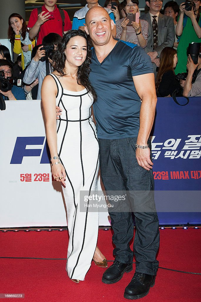 Actors Michelle Rodriguez and Vin Diesel attend the 'Fast & Furious 6' South Korea Premiere on May 13, 2013 in Seoul, South Korea. Michelle Rodriguez and Vin Diesel are visiting South Korea to promote their recent film 'Fast & Furious 6' which will be released in South Korea on May 23.