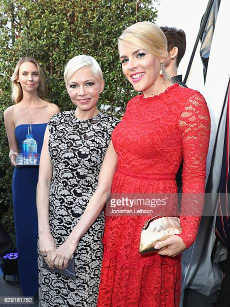Actors Michelle Williams and Busy Philipps at the 22nd Annual Critics' Choice Awards presented by Landmark Vineyards at Barker Hangar on December 11...