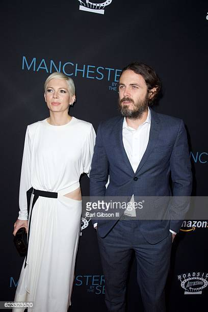 Actors Michelle Williams and Casey Affleck attend the Premiere Of Amazon Studios 'Manchester By The Sea' at Samuel Goldwyn Theater on November 14...