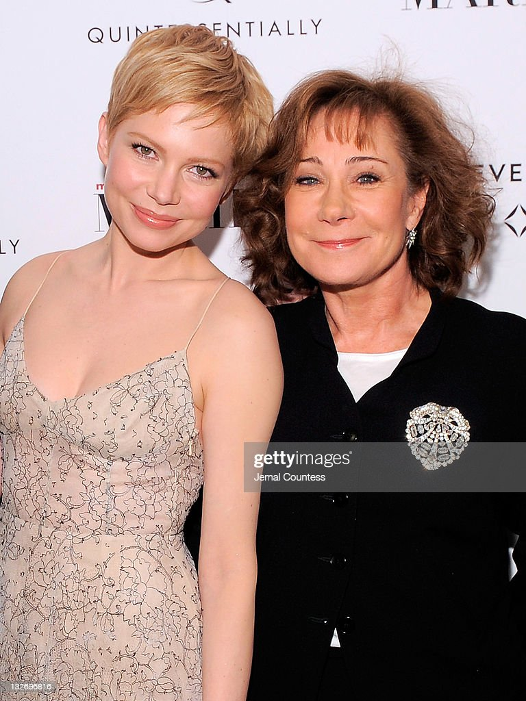 Actors Michelle Williams and <a gi-track='captionPersonalityLinkClicked' href=/galleries/search?phrase=Zoe+Wanamaker&family=editorial&specificpeople=224028 ng-click='$event.stopPropagation()'>Zoe Wanamaker</a> pose for a photo at the 'My Week With Marilyn' New York premiere at The Paris Theatre on November 13, 2011 in New York City.