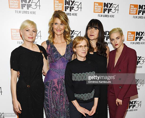 Actors Michelle Williams Laura Dern Lily Gladstone and Kristen Stewart pose with Director Kelly Reichardt at the 'Certain Women' premiere during the...
