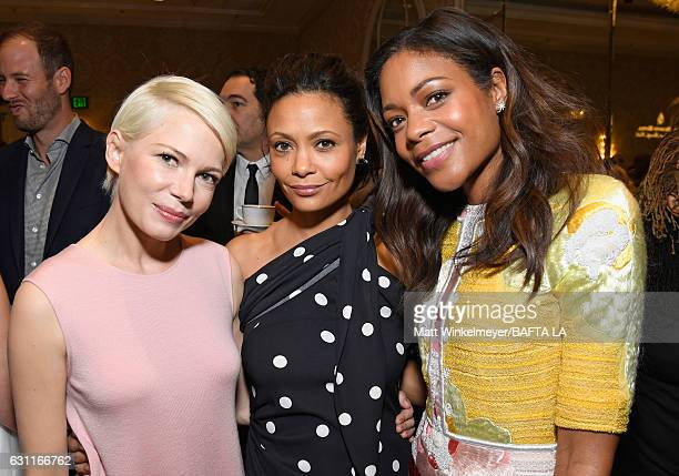 Actors Michelle Williams Thandie Newton and Naomie Harris attend The BAFTA Tea Party at Four Seasons Hotel Los Angeles at Beverly Hills on January 7...