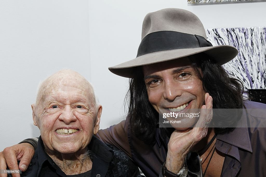 Actors Mickey Rooney and Richard Grieco attend Richard Grieco Hosts Opening Night Gala For His One-Man Art Exhibit 'Sanctum Of A Dreamer!' at Gallerie Sparta on August 15, 2013 in West Hollywood, California.