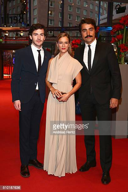 Actors Miguel Nunes Margarida VilaNova and Ricardo Pereira attend the 'Letters from War' premiere during the 66th Berlinale International Film...