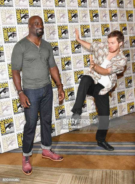 Actors Mike Colter and Finn Jones at Marvel's 'The Defenders' Press Line during ComicCon International 2017 at Hilton Bayfront on July 21 2017 in San...