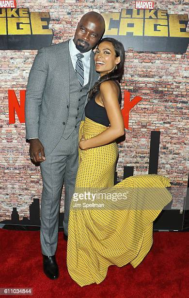 Actors Mike Colter and Rosario Dawson attend the 'Luke Cage' New York premiere at AMC Magic Johnson Harlem on September 28 2016 in New York City