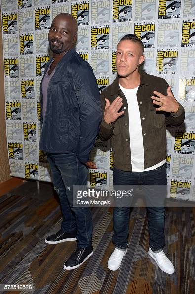 Actors Mike Colter and Theo Rossi attend the 'Luke Cage' press line during ComicCon International 2016 at Hilton San Diego Bayfront on July 21 2016...
