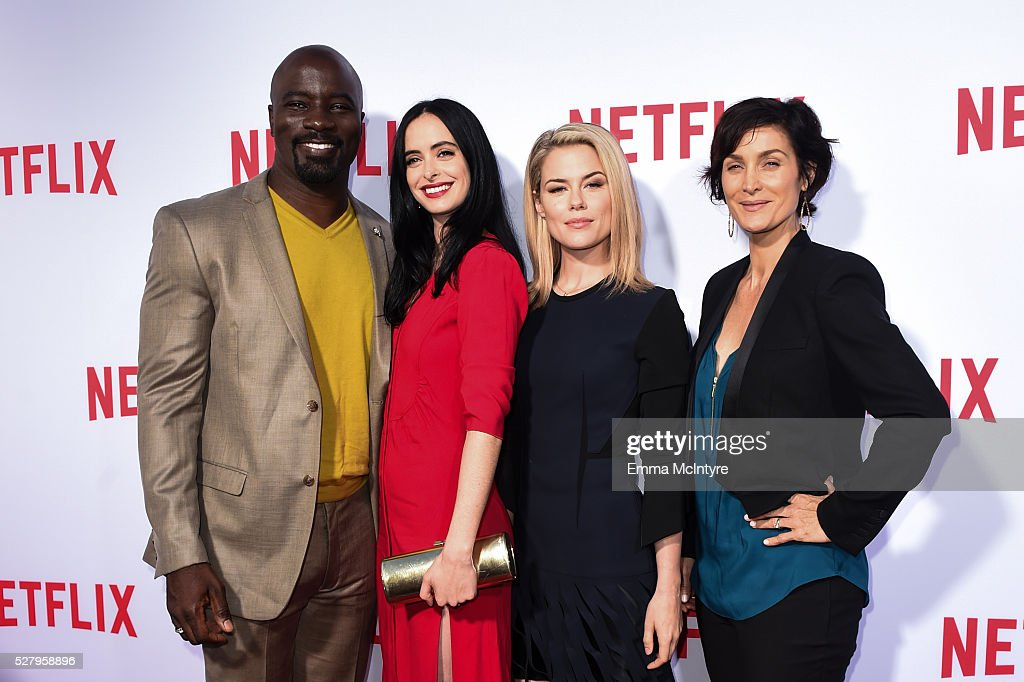 Actors <a gi-track='captionPersonalityLinkClicked' href=/galleries/search?phrase=Mike+Colter&family=editorial&specificpeople=2649251 ng-click='$event.stopPropagation()'>Mike Colter</a>, <a gi-track='captionPersonalityLinkClicked' href=/galleries/search?phrase=Krysten+Ritter&family=editorial&specificpeople=655673 ng-click='$event.stopPropagation()'>Krysten Ritter</a>, <a gi-track='captionPersonalityLinkClicked' href=/galleries/search?phrase=Rachael+Taylor+-+Schauspielerin&family=editorial&specificpeople=544685 ng-click='$event.stopPropagation()'>Rachael Taylor</a>, and <a gi-track='captionPersonalityLinkClicked' href=/galleries/search?phrase=Carrie-Anne+Moss&family=editorial&specificpeople=225080 ng-click='$event.stopPropagation()'>Carrie-Anne Moss</a> arrive at the Netflix original series 'Marvel's Jessica Jones' FYC Screening and Q&A at Paramount Studios on May 3, 2016 in Hollywood, California.